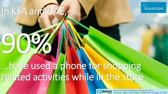 In KSA and UAE, 90% ...have used a phone for shopping related activities while in the store