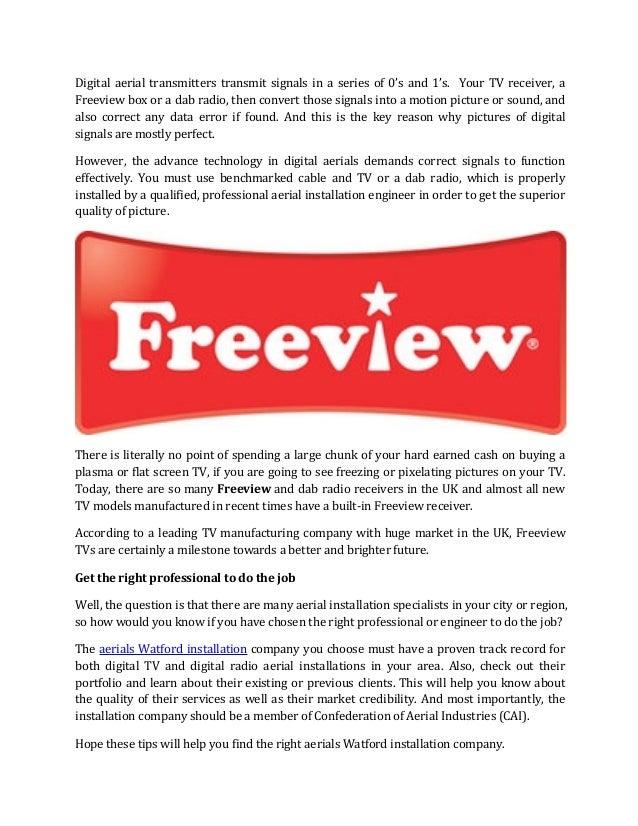 Digital TV Aerials to Enjoy Freeview in Watford, UK