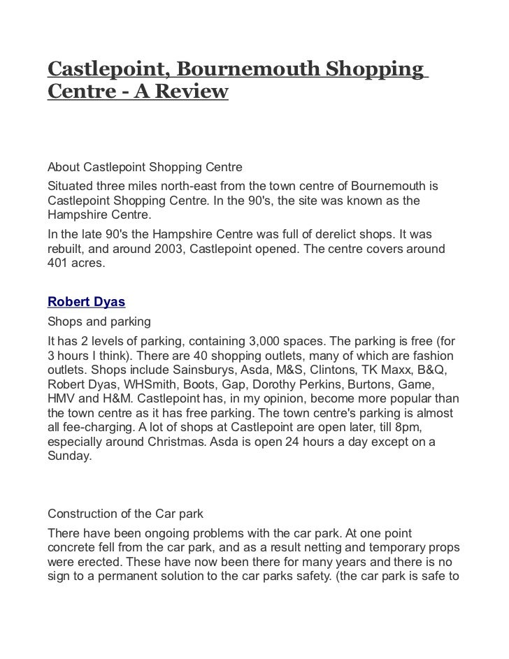Castlepoint, Bournemouth ShoppingCentre - A ReviewAbout Castlepoint Shopping CentreSituated three miles north-east from th...