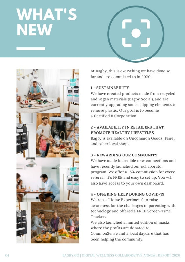 WHAT'S NEW At Bagby, this is everything we have done so far and are committed to in 2020: 1 - SUSTAINABILITY We have crea...