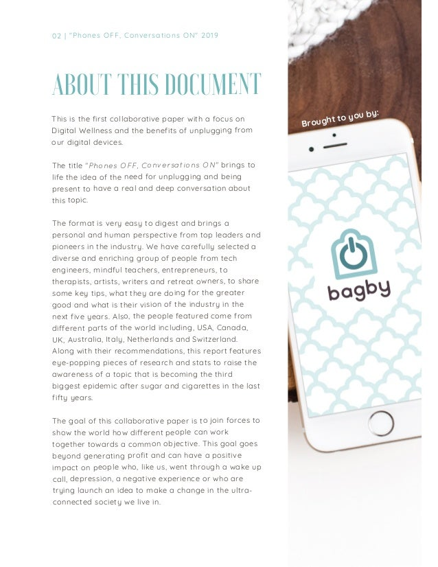 Digital Wellness: Phones OFF, conversations ON 2019 -  bagbybrand  Slide 3