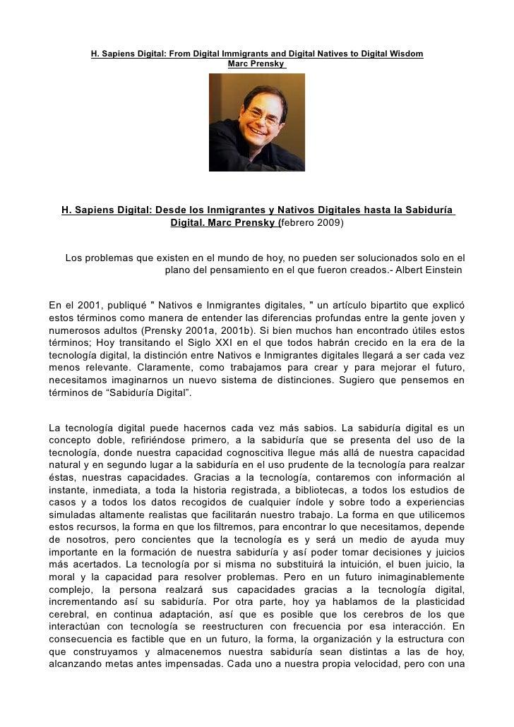 H. Sapiens Digital: From Digital Immigrants and Digital Natives to Digital Wisdom                                         ...