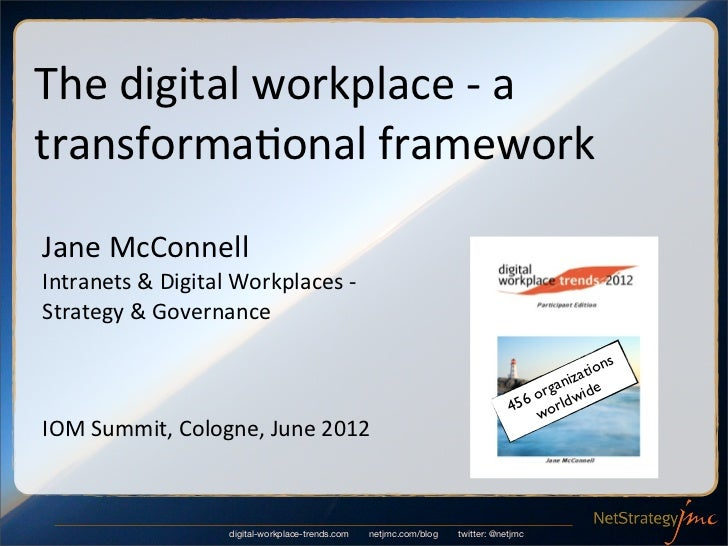 The	  digital	  workplace	  -­‐	  a	  transforma6onal	  frameworkJane	  McConnellIntranets	  &	  Digital	  Workplaces	  -­...