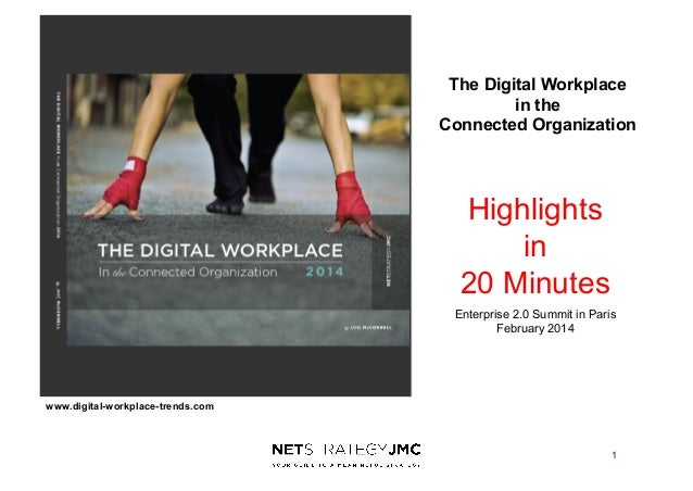 The Digital Workplace in the Connected Organization  Highlights in 20 Minutes Enterprise 2.0 Summit in Paris February 2014...