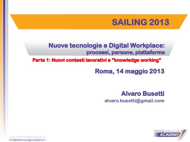 www.federmanageracademy.it info@federmanageracademy.it SAILING 2013 Nuove tecnologie e Digital Workplace: processi, person...