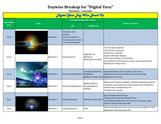 """Daywise Breakup for """"Digital Yuva""""Duration : 2 monthsLab AssignmentDay 1 Windows 7Interaction withstudents.Course Introduc..."""