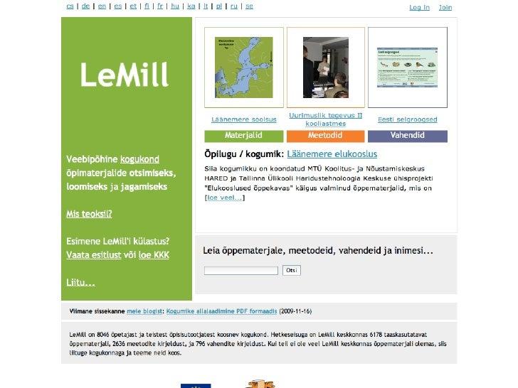 LeMill keskkonna tutvustus Slide 3