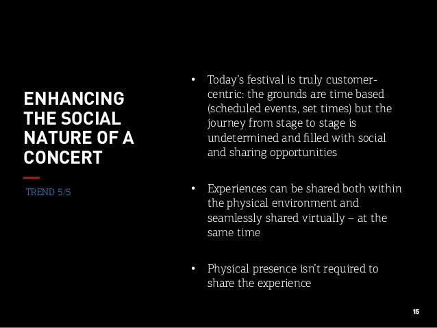 15 TREND 5/5 ENHANCING THE SOCIAL NATURE OF A CONCERT • Today's festival is truly customer- centric: the grounds are time...