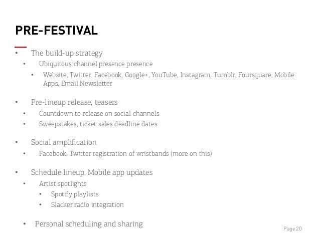 PRE-FESTIVAL • The build-up strategy • Ubiquitous channel presence presence • Website, Twitter, Facebook, Google+, YouT...