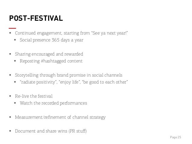 """POST-FESTIVAL § Continued engagement, starting from """"See ya next year!"""" § Social presence 365 days a year § Sharing ..."""