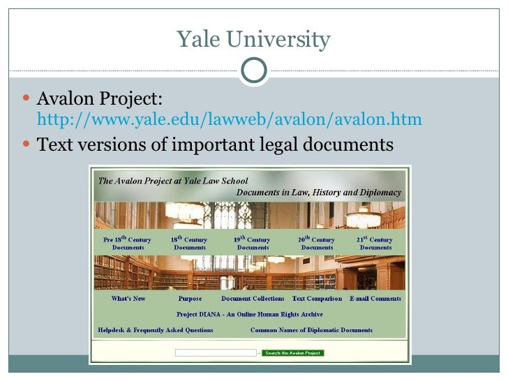 the avalon project at yale law school