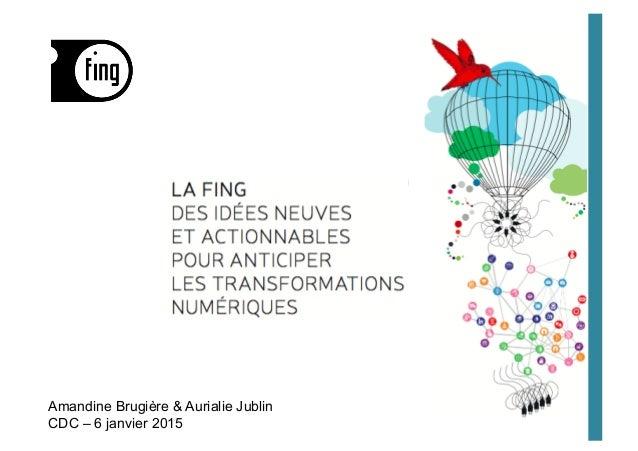 Amandine Brugière & Aurialie Jublin CDC – 6 janvier 2015