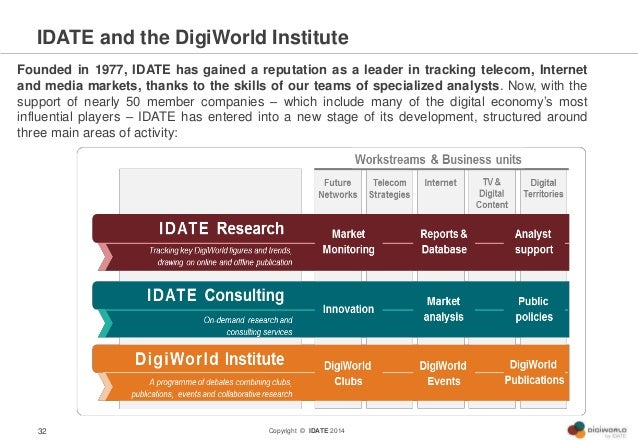 Copyright © IDATE 2014 IDATE and the DigiWorld Institute 32 Founded in 1977, IDATE has gained a reputation as a leader in ...