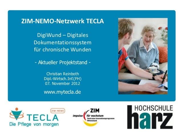 ZIM-NEMO-Netzwerk TECLA    DigiWund – Digitales   Dokumentationssystem   für chronische Wunden   - Aktueller Projektstand ...