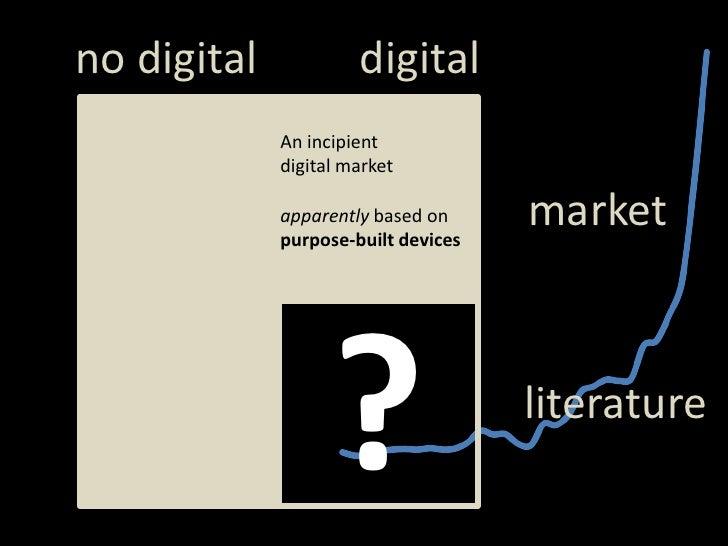 digital<br />notdigital<br />An incipient digital market<br />market<br />apparentlybased on <br />purpose-builtdevices<br...