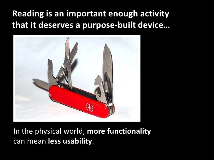 Reading is an important enough activity that it deserves a purpose-built device…<br />In the physical world, more function...