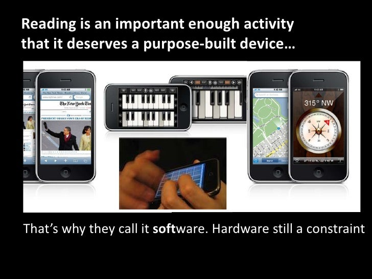 Reading is an important enough activity that it deserves a purpose-built device…<br />That's why they call it software. Ha...