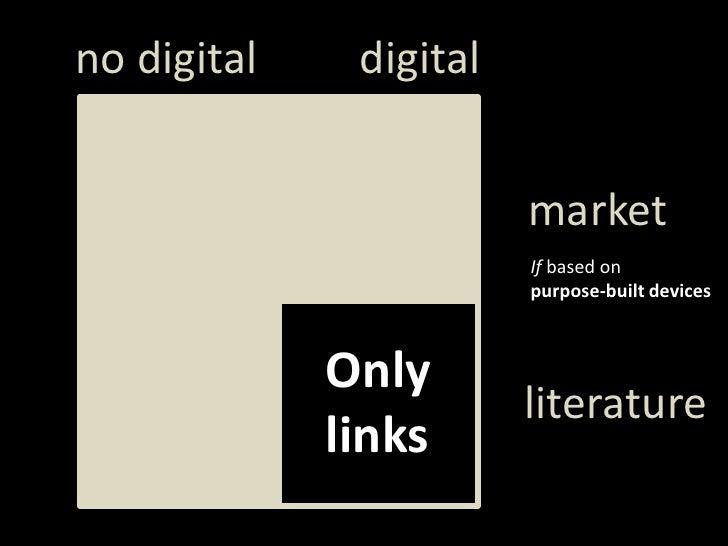 digital<br />notdigital<br />market<br />Ifbased on <br />purpose-builtdevices<br />Only<br />links<br />literature<br />