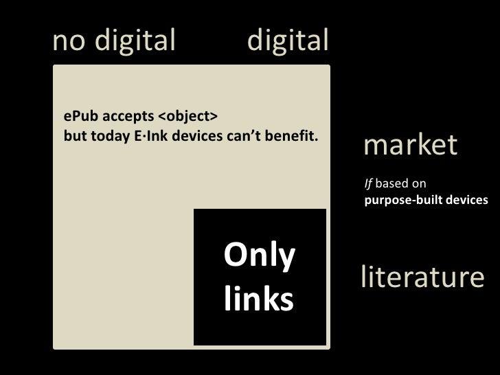 digital<br />notdigital<br />ePubaccepts &lt;object&gt;<br />buttodayE·Inkdevicescan'tbenefit.<br />market<br />Ifbased on...