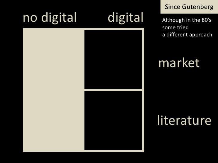 SinceGutenberg<br />digital<br />notdigital<br />Although in the 80's sometried<br />a differentapproach<br />market<br />...