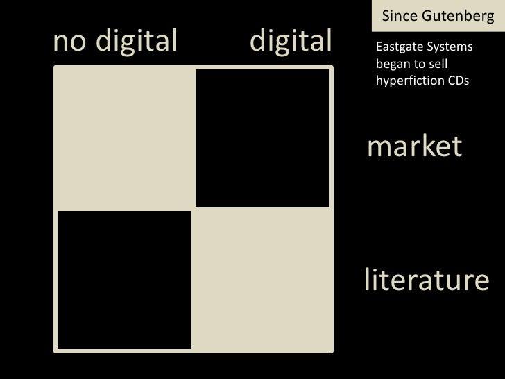 SinceGutenberg<br />digital<br />notdigital<br />Eastgate Systems began to sellhyperfictionCDs<br />market<br />literature...