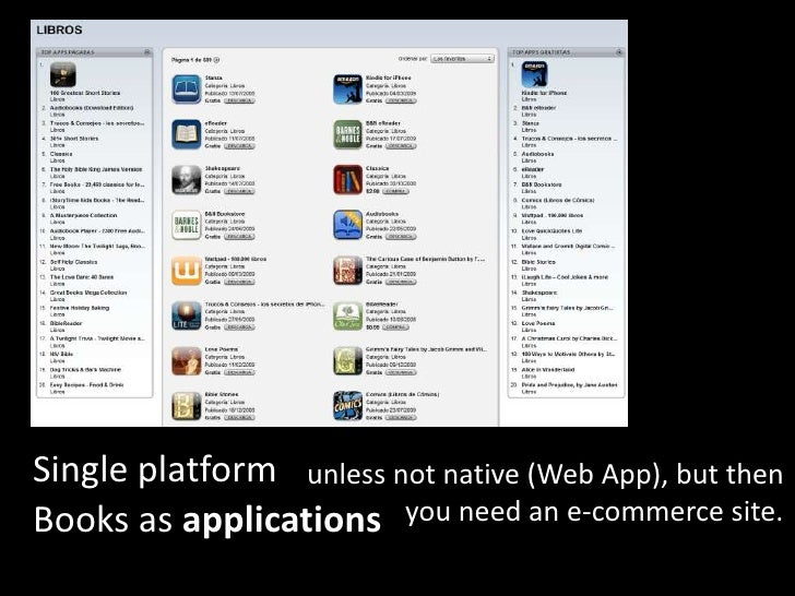 Single platform<br />unless not native (Web App), but then<br />              you need an e-commerce site.<br />Books as a...