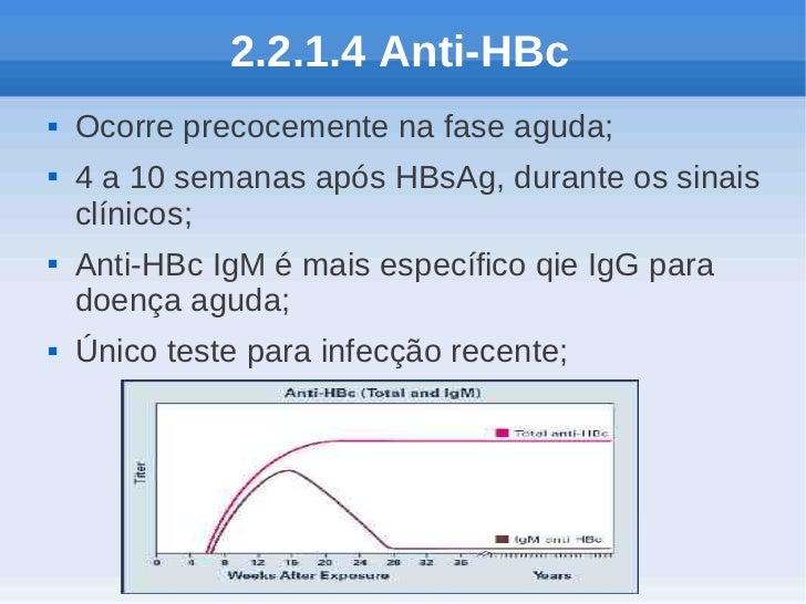 2.2.1.4 Anti-HBc   Ocorre precocemente na fase aguda;   4 a 10 semanas após HBsAg, durante os sinais    clínicos;   Ant...