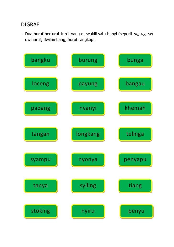 DIGRAF- Dua huruf berturut-turut yang mewakili satu bunyi (seperti ng, ny, sy)  dwihuruf, dwilambang, huruf rangkap.     b...