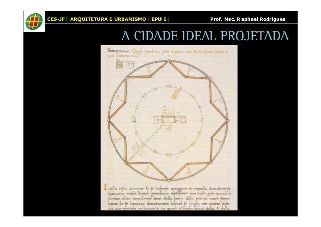 CES-JF | ARQUITETURA E URBANISMO | EPU I | Prof. Msc. Raphael Rodrigues  A CIDADE IDEAL PROJETADA