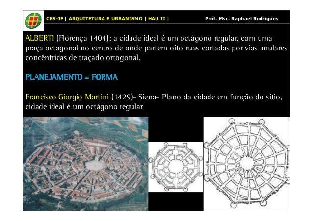 CES-JF | ARQUITETURA E URBANISMO | HAU II | Prof. Msc. Raphael Rodrigues  ALBERTI (Florença 1404): a cidade ideal é um oct...