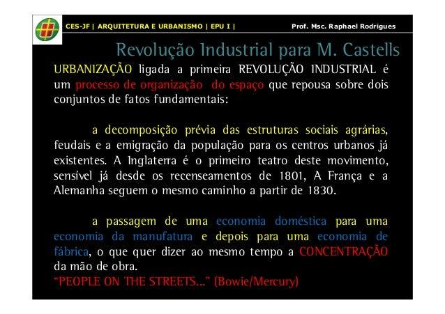 CES-JF | ARQUITETURA E URBANISMO | EPU I | Prof. Msc. Raphael Rodrigues  Revolução Industrial para M. Castells  URBANIZAÇÃ...