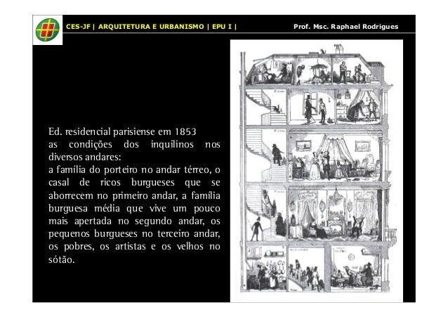 CES-JF | ARQUITETURA E URBANISMO | EPU I | Prof. Msc. Raphael Rodrigues  Ed. residencial parisiense em 1853  as condições ...