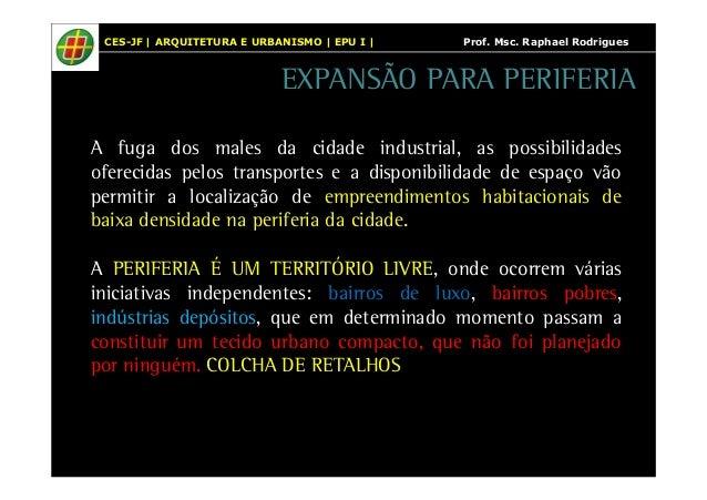 CES-JF | ARQUITETURA E URBANISMO | EPU I | Prof. Msc. Raphael Rodrigues  EXPANSÃO PARA PERIFERIA  A fuga dos males da cida...