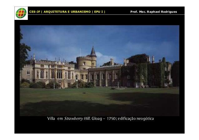 CES-JF | ARQUITETURA E URBANISMO | EPU I | Prof. Msc. Raphael Rodrigues  Villa em Strawberry Hill. Gloag – 1750; edificaçã...