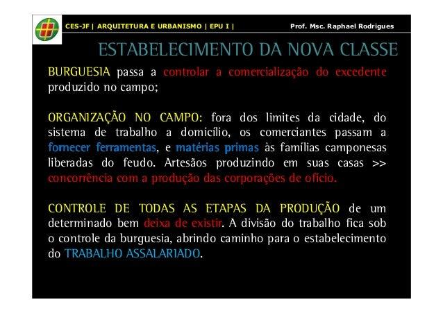 CES-JF | ARQUITETURA E URBANISMO | EPU I | Prof. Msc. Raphael Rodrigues  ESTABELECIMENTO DA NOVA CLASSE  BURGUESIA passa a...
