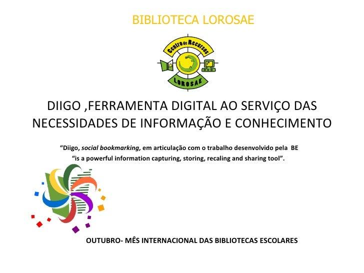 """DIIGO ,FERRAMENTA DIGITAL AO SERVIÇO DAS NECESSIDADES DE INFORMAÇÃO E CONHECIMENTO """" Diigo,  social bookmarking,  em artic..."""