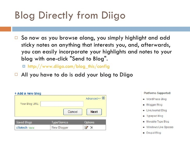Blog Directly from Diigo <ul><li>So now as you browse along, you simply highlight and add sticky notes on anything that in...