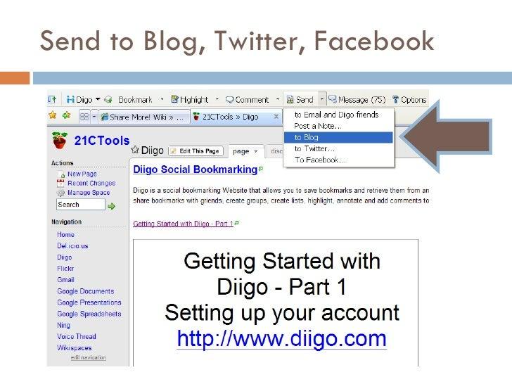 Send to Blog, Twitter, Facebook