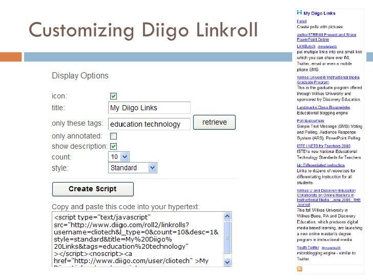 Customizing Diigo Linkroll