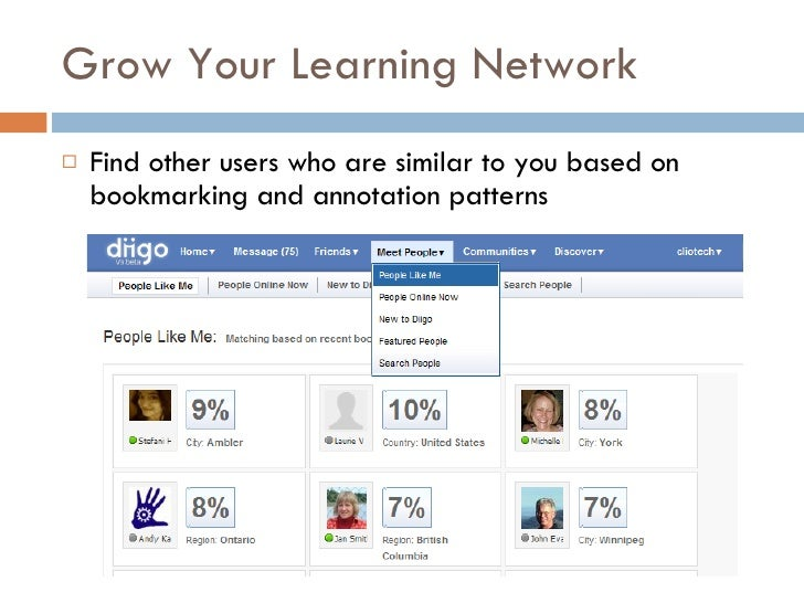 Grow Your Learning Network <ul><li>Find other users who are similar to you based on bookmarking and annotation patterns </...