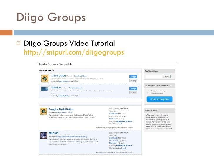 Diigo Groups <ul><li>Diigo Groups Video Tutorial  http://snipurl.com/diigogroups   </li></ul>