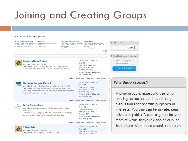 Joining and Creating Groups