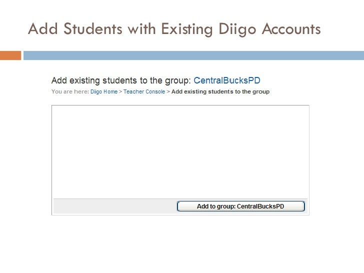 Add Students with Existing Diigo Accounts