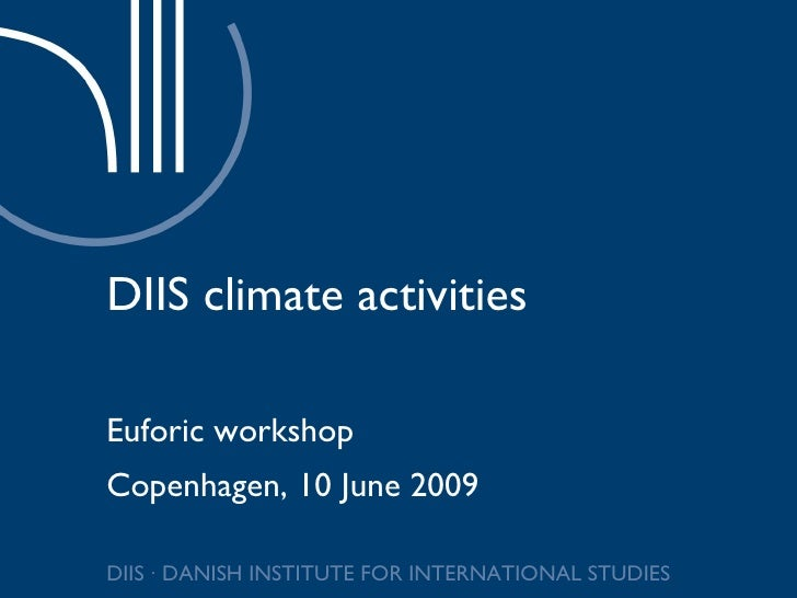 DIIS climate activities Euforic workshop Copenhagen, 10 June 2009