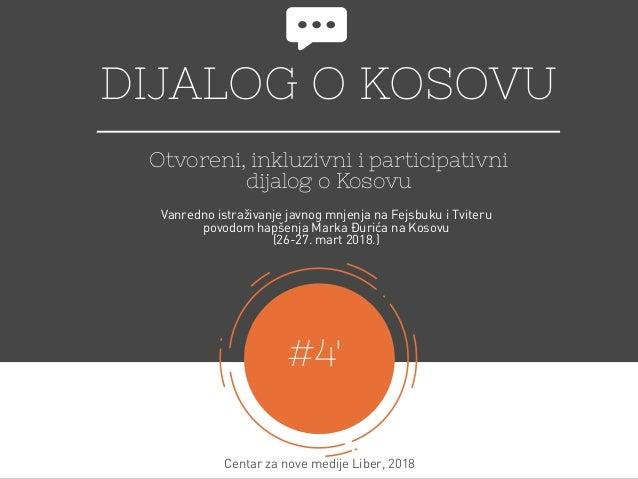DIJALOG O KOSOVU Otvoreni, inkluzivni i participativni dijalog o Kosovu #4' Centar za nove medijeLiber, 2018 Vanredno ist...