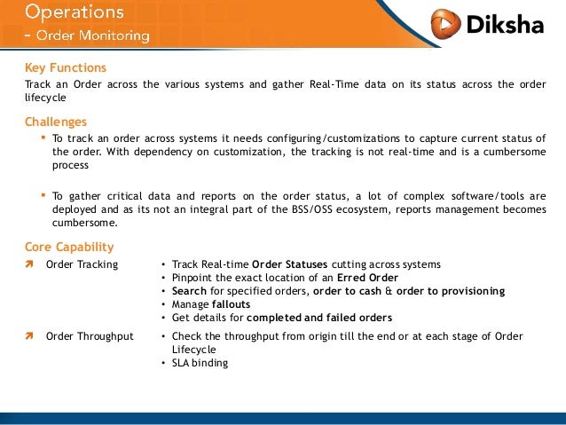 Key Functions Track an Order across the various systems and gather Real-Time data on its status across the order lifecycle...
