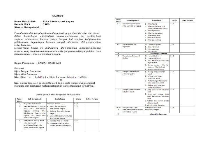 SILABUSNama Mata kuliah        : Etika Administrasi NegaraKode M./SKS             : 3SKSStandar Kompetensi      :Pemahaman...