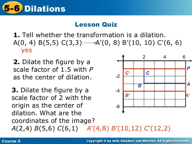 how to find the center of dilation and scale factor