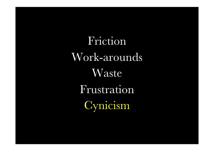 Friction words   Friction Work-arounds     Waste  Frustration   Cynicism