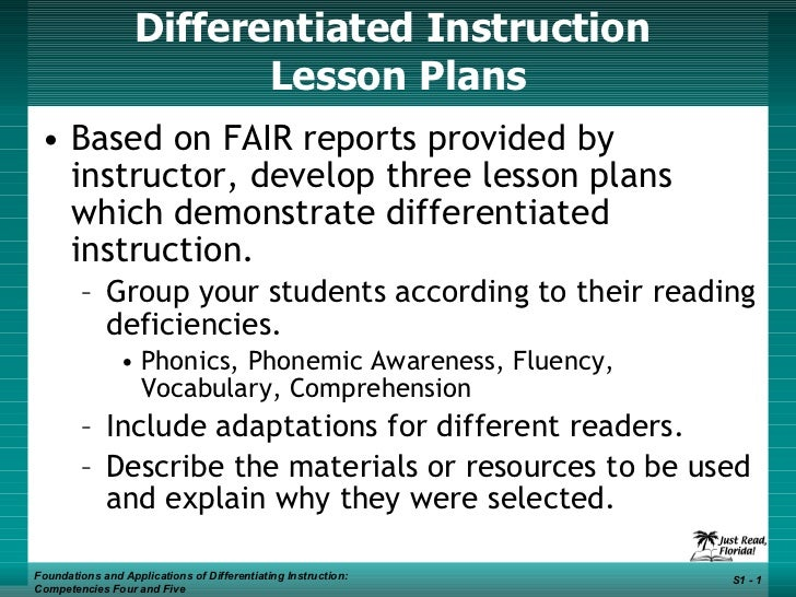 Differentiated Instruction  Lesson Plans <ul><li>Based on FAIR reports provided by instructor, develop three lesson plans ...
